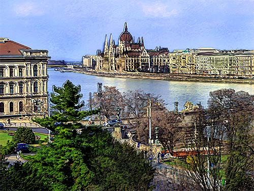 Budapest Danube and Parliament
