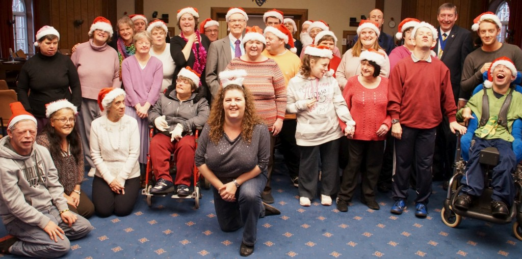 Adults-with-learning-disabilities-sing-Merry-Christmas-to-County-Councillors