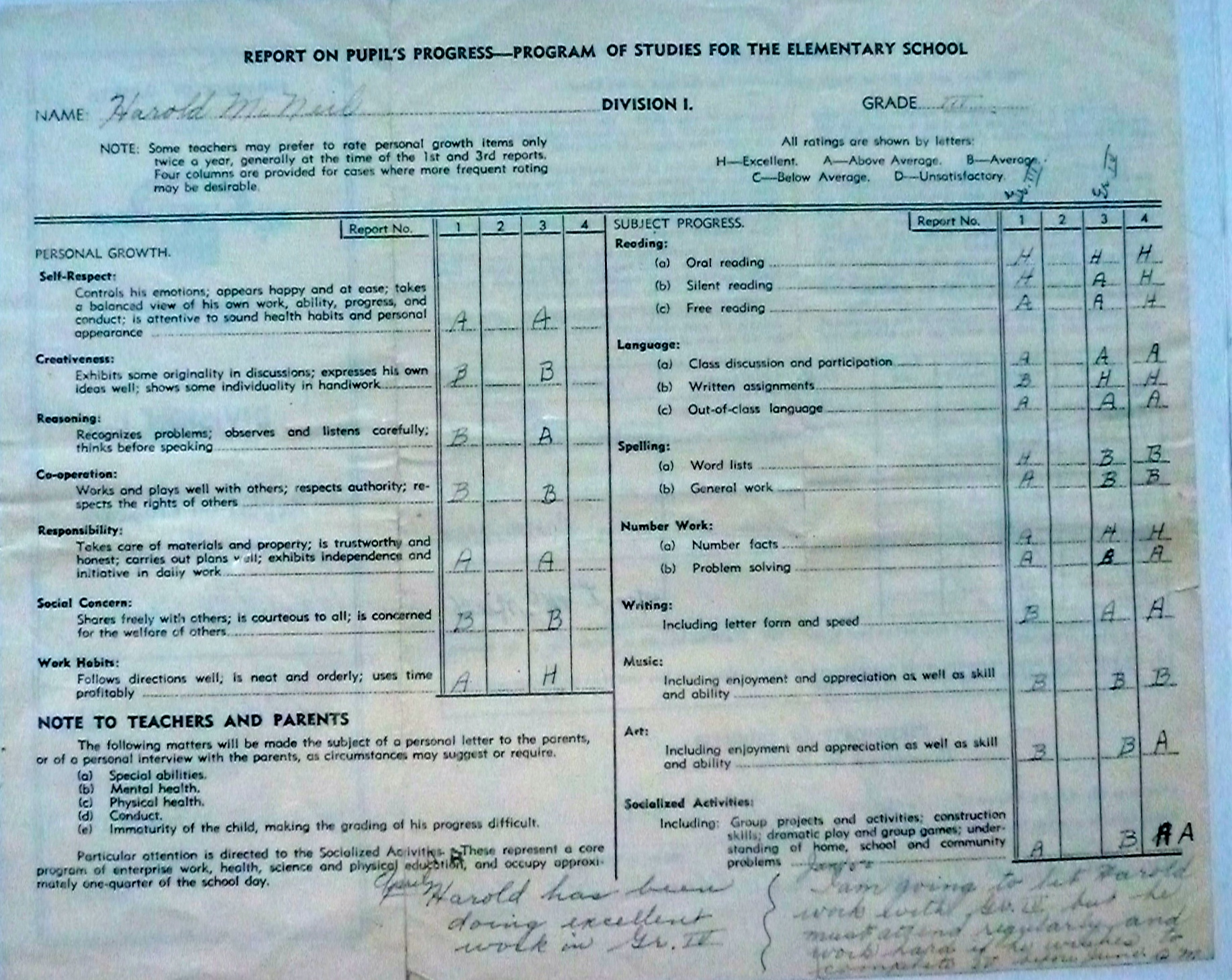 Grade 3 and 4 Report Card