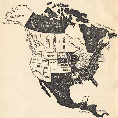 Canada and US Sufferage Map 1920